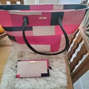 Authentic GUC Kate Spade Color Block Tote & Wallet